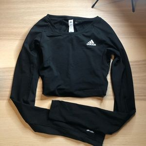 Adidas long sleeve athletic crop top sz XS